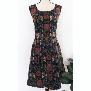EUC eShakti Floral Pineapple Fit & Flare Dress 1X